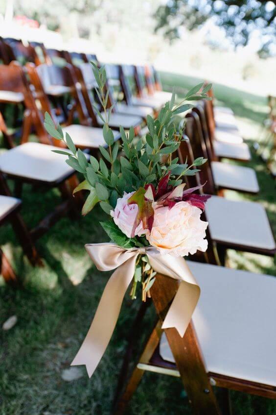 Wedding venue decorations for burgundy and blush wedding