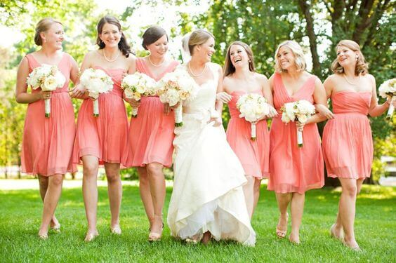 Coral bridesmaids for Coral and Green wedding