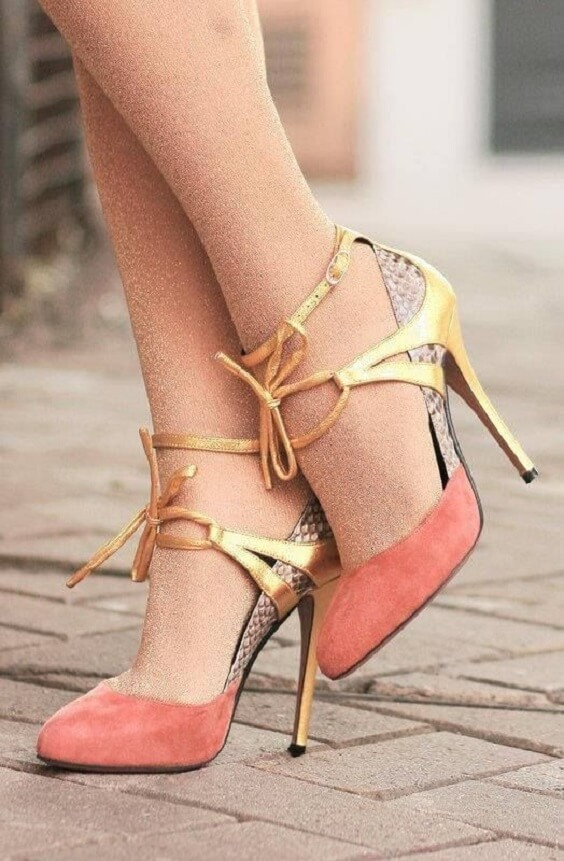 Coral wedding shoes for Coral and Green wedding