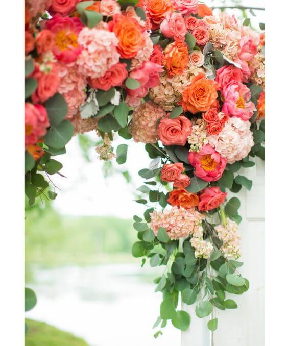 Wedding arch for Coral and Green wedding