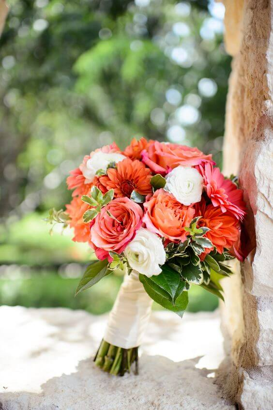 Wedding bouquets for Coral and Green wedding