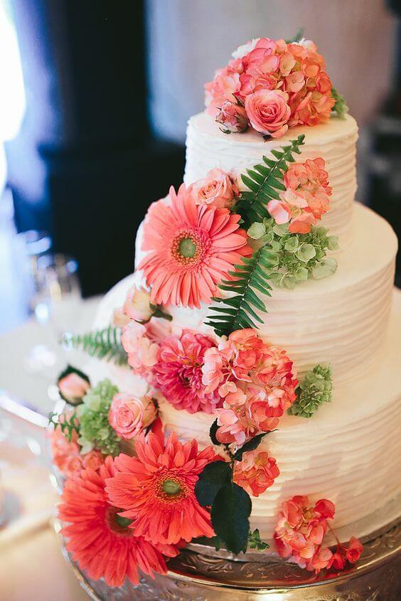 Wedding cake for Coral and Green wedding
