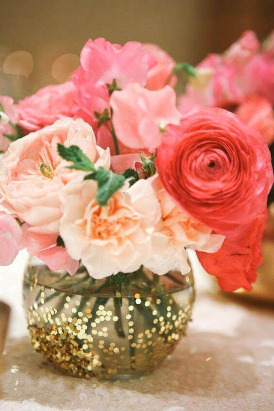 Wedding centerpieces for Coral and Green wedding