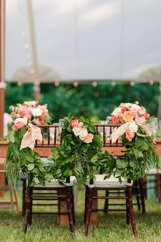 Wedding chairs for Coral and Green wedding
