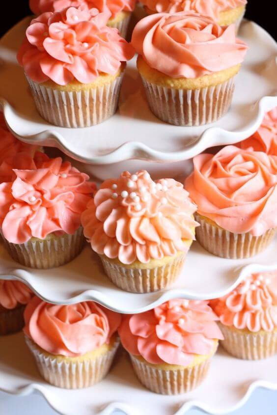 Wedding cupcakes for Coral and Green wedding