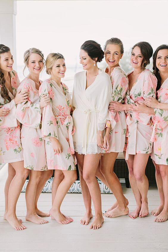 Wedding robes for Coral and Green wedding