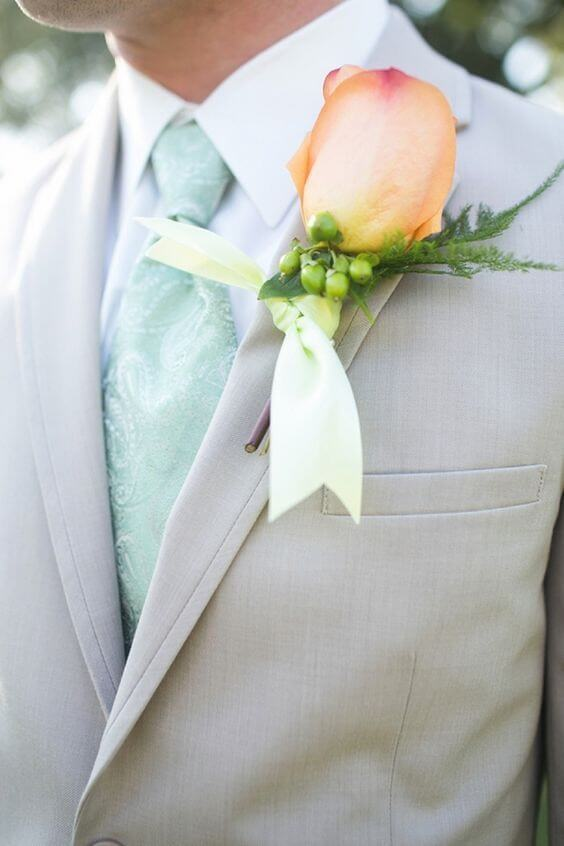 Groom for Mint and peach wedding