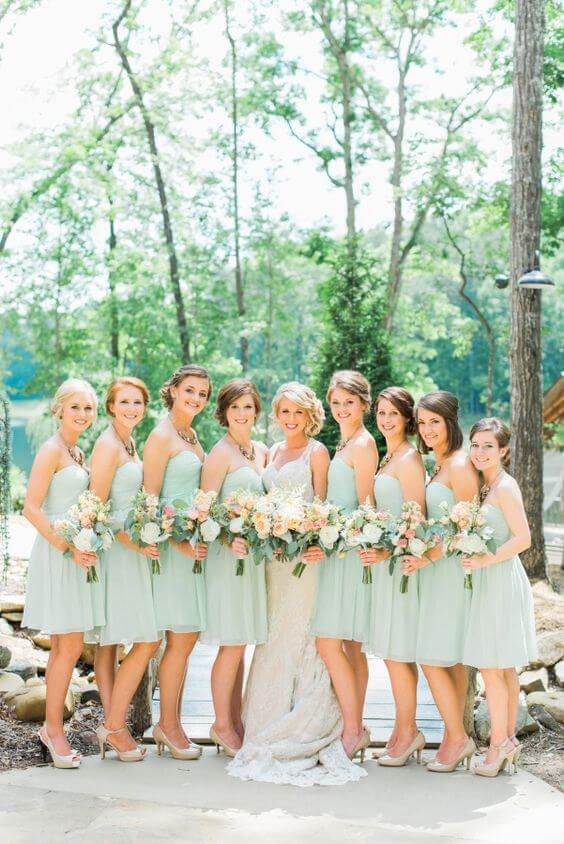 Mint Bridesmaid dresses for Mint and peach wedding