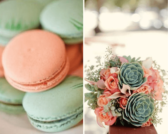 Wedding bouquets and wedding biscuits for Mint and peach wedding