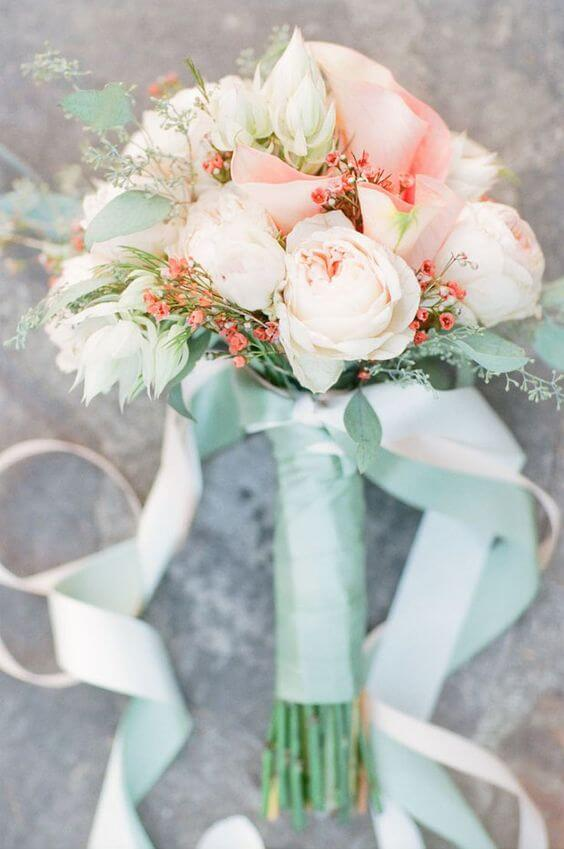Wedding bouquets for Mint and peach wedding