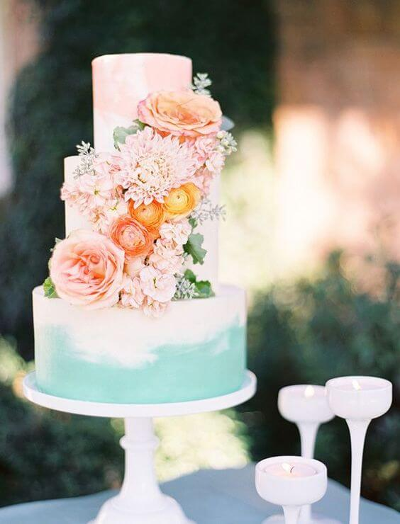 Wedding cakes for Mint and peach wedding