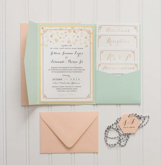 Wedding invitations for Mint and peach wedding