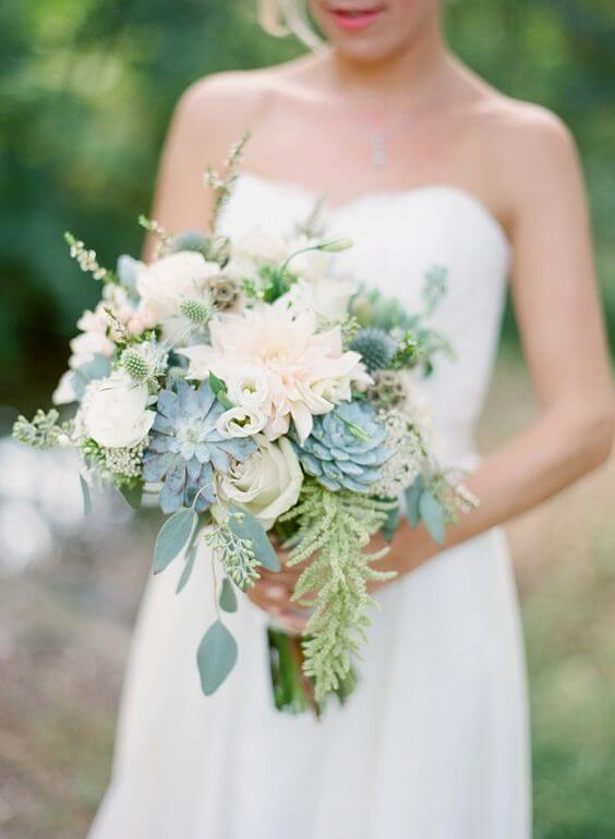 Bridal gown and bouquets for Dusty blue and Blush wedding