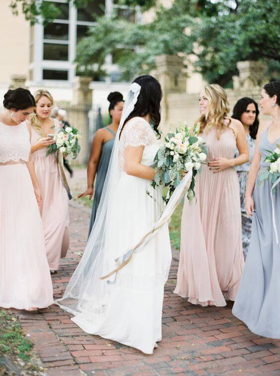 Dusty Blue and blush bridesmaid dresses for Dusty blue and Blush wedding