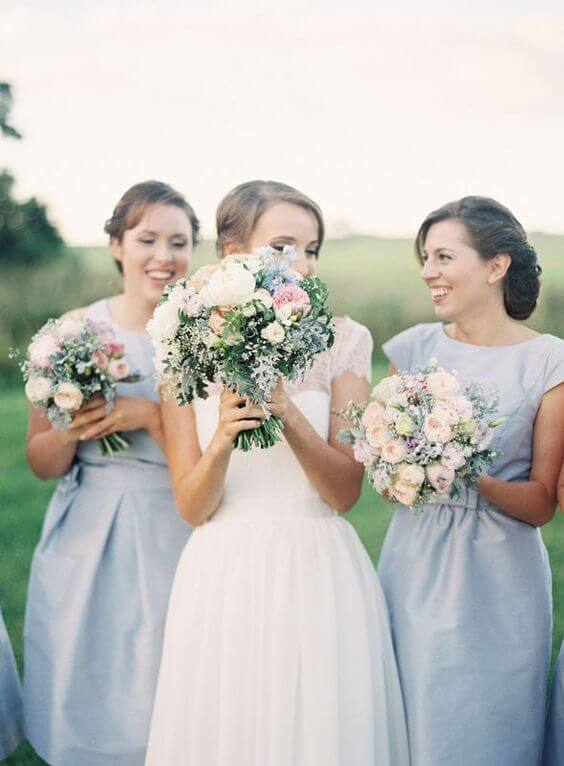 Dusty Blue bridesmaid dresses for Dusty blue and Blush wedding