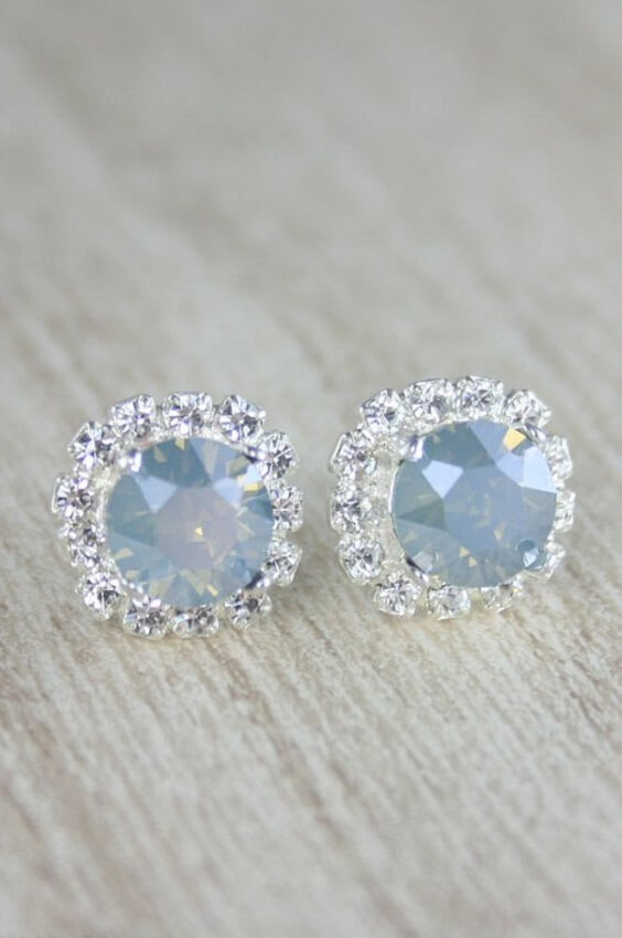 Dusty blue earrings for Dusty blue and Blush wedding