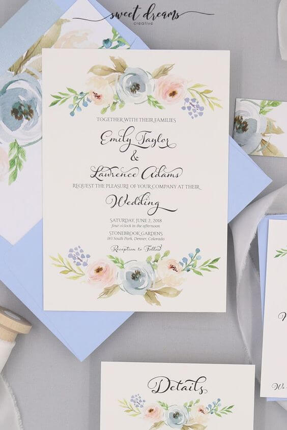 Dusty blue invitations for Dusty blue and Blush wedding