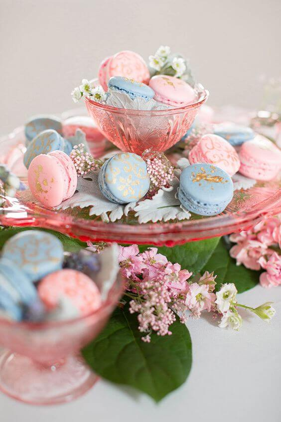 Wedding biscuits for Dusty blue and Blush wedding
