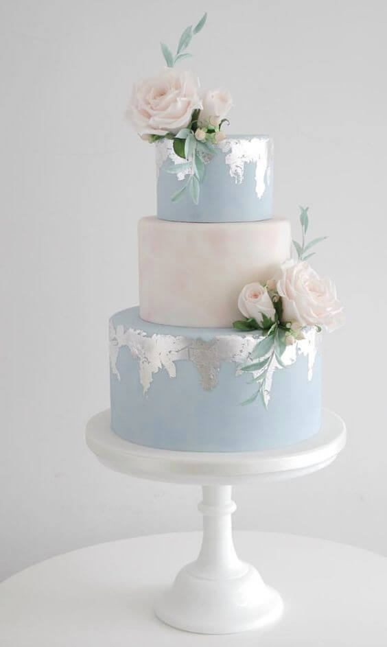 Wedding cake for Dusty blue and Blush wedding