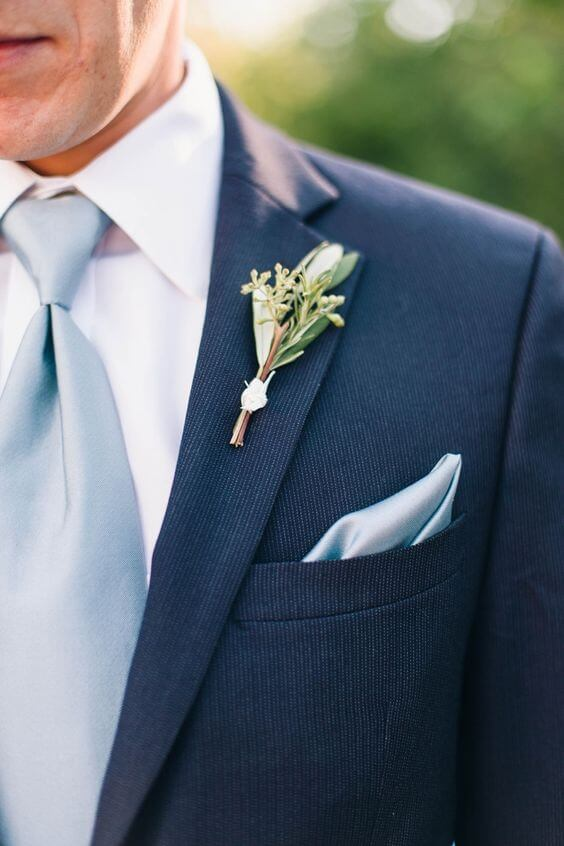 Navy groom with dusty blue tie for Dusty blue and Blush wedding