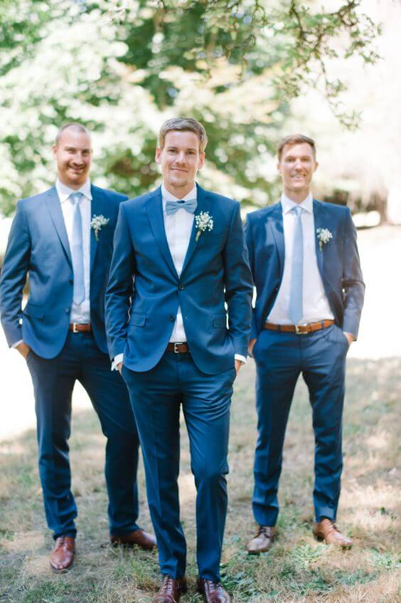 Navy groomsmen with dusty blue tie for Dusty blue and Blush wedding