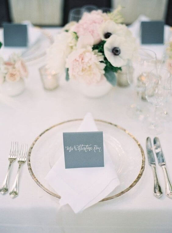 Wedding table decorations for Dusty blue and Blush wedding