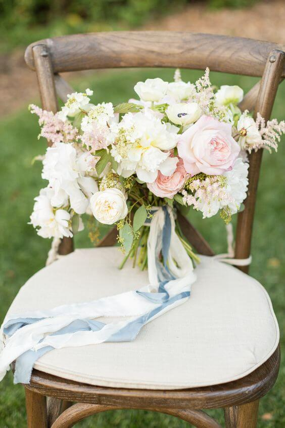 Wedding bouquets for Dusty blue and Blush wedding