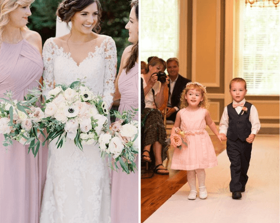 Bridesmaids and flower girl for Dusty rose wedding