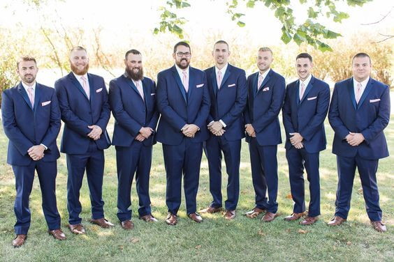 Navy groom and groomsmen for Dusty rose wedding