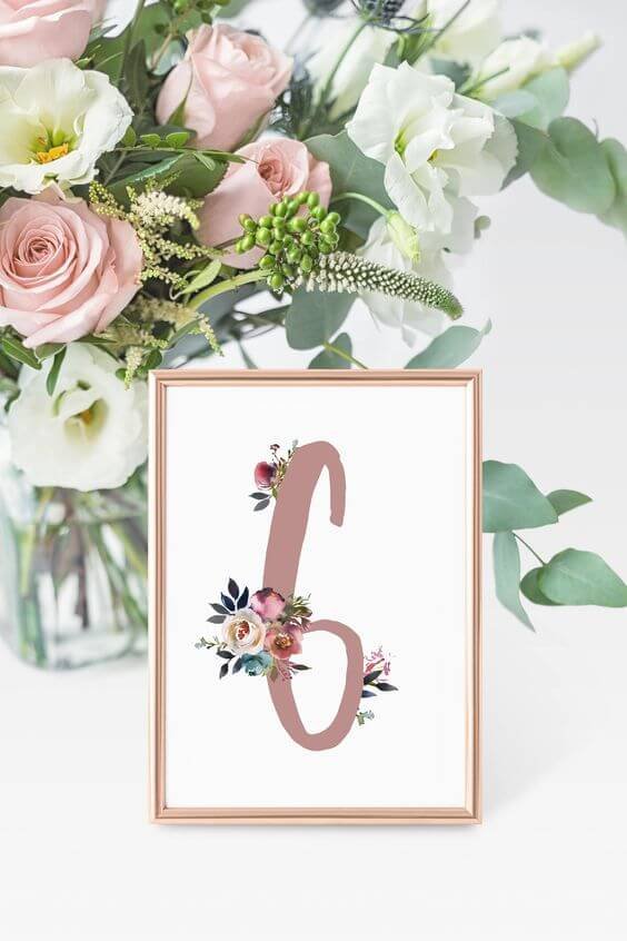 wedding table number for Dusty rose wedding