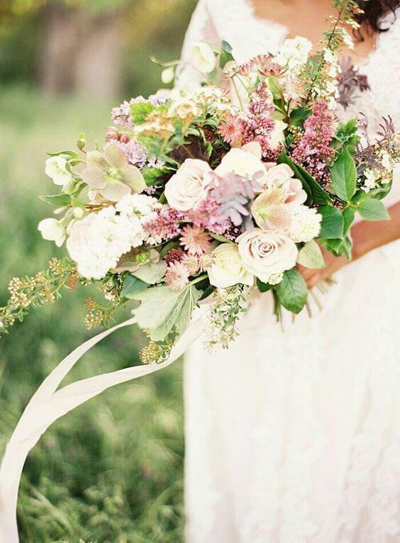 wedding bouquets for Dusty rose wedding