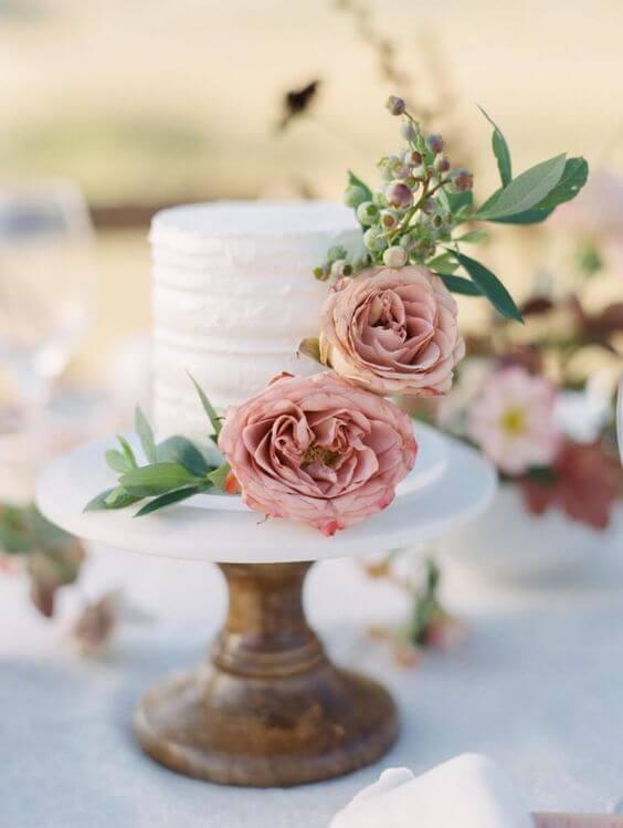 wedding cake for Dusty rose wedding