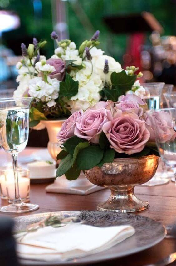 wedding centerpieces for Dusty rose wedding
