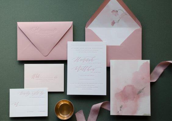 wedding invitations for Dusty rose wedding