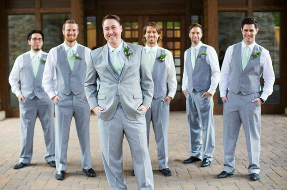 Grey groom and groomsmen for Mint and gold wedding