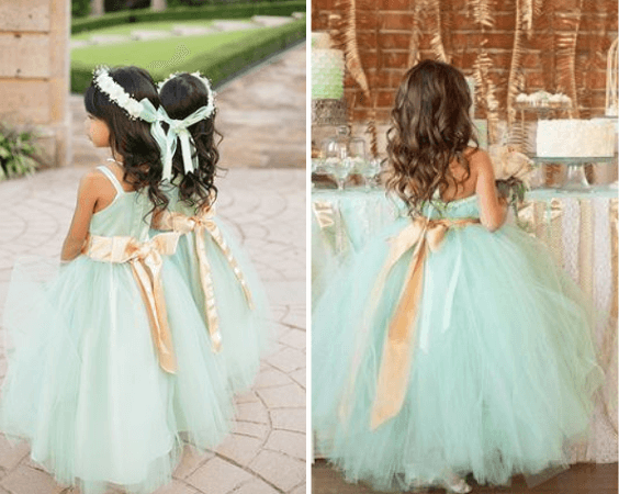 Mint flower girls for Mint and gold wedding