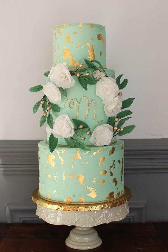 Mint Wedding cake for Mint and gold wedding