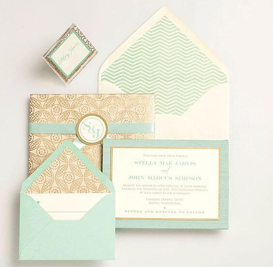 Mint Wedding invitations for Mint and gold wedding
