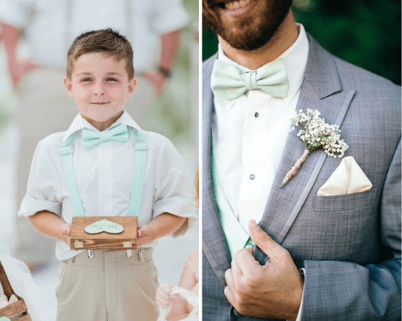 Ring bearer and groom for Mint and gold wedding