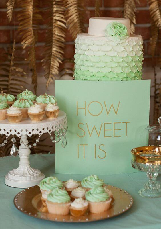 Wedding cakes for Mint and gold wedding