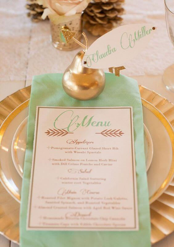 Wedding menu and tableware for Mint and gold wedding