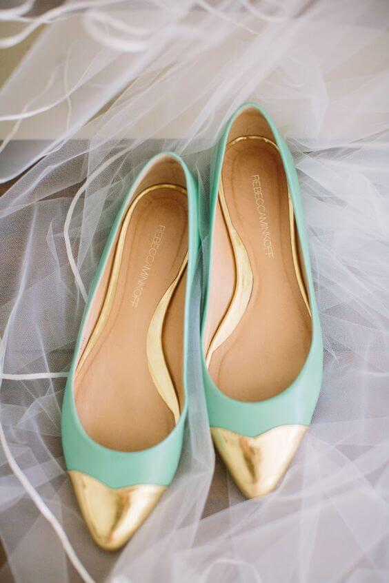 Wedding shoes for Mint and gold wedding