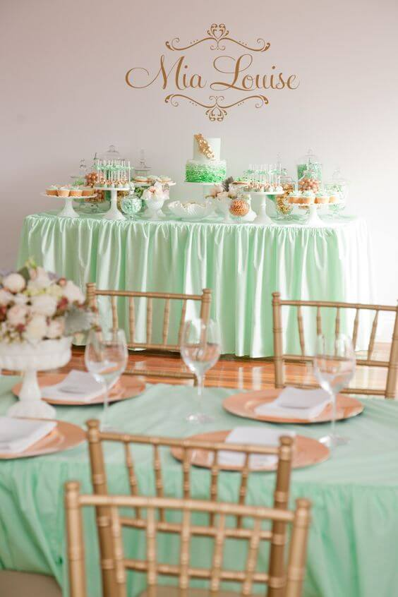 Wedding table decorations for Mint and gold wedding