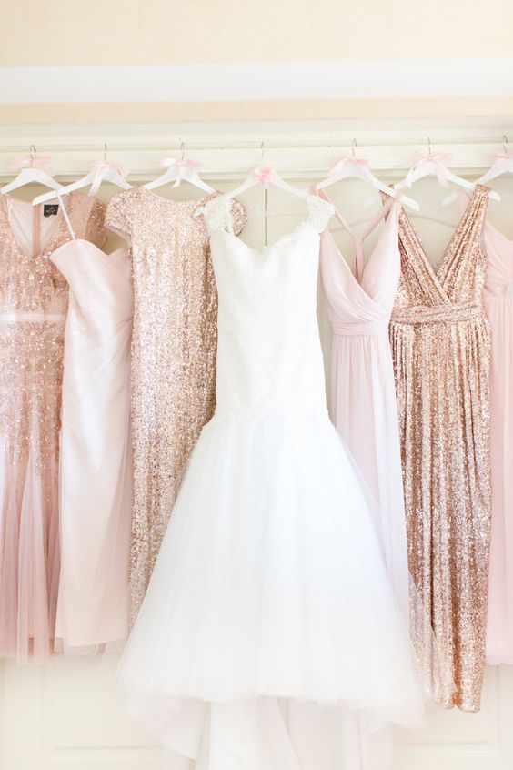 Bridal gown and bridesmaid dresses for rose gold and blush wedding