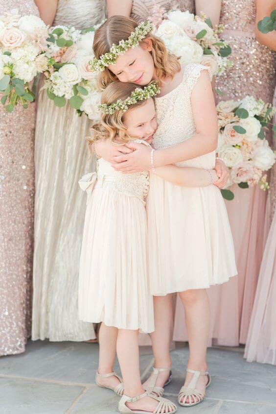 flower girl for rose gold and blush wedding