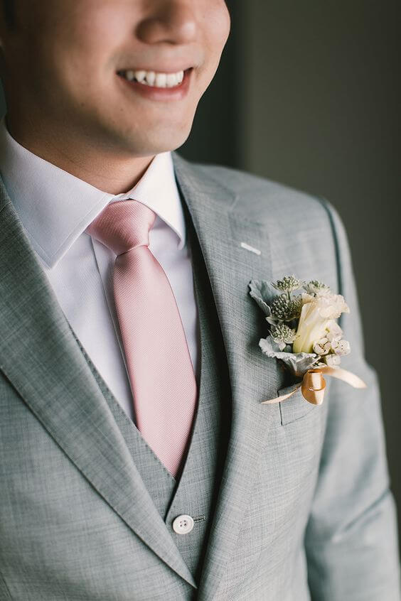 Silver Grey groom suit with blush tie for rose gold and blush wedding