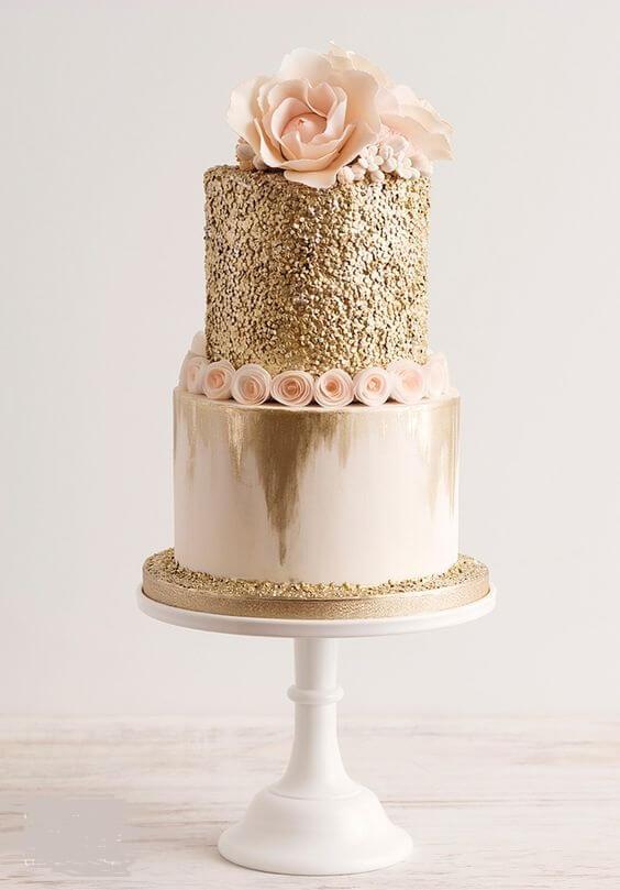 Wedding cake for rose gold and blush wedding