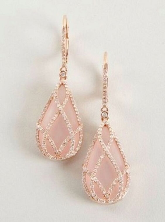 Wedding earrings for rose gold and blush wedding