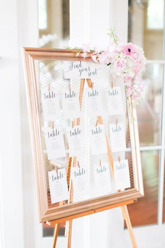 Wedding notice board for rose gold and blush wedding