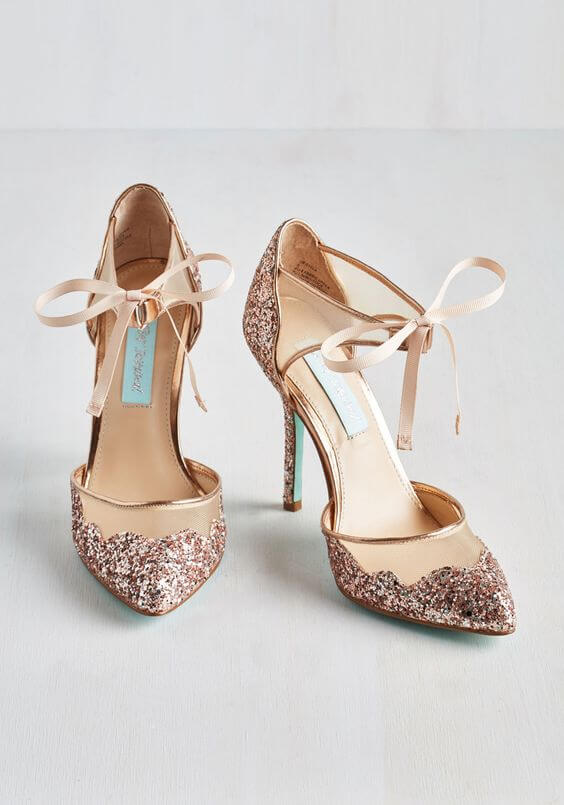 Wedding shoes for rose gold and blush wedding
